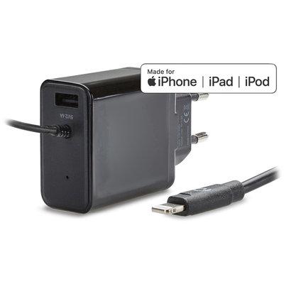 thuislader smart USB + lightning 1m snel 4.8A zw