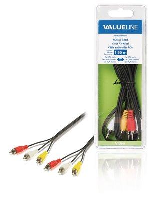 RCA AV kabel 3x RCA mannelijk - 3x RCA mannelijk 1,50 m zwart