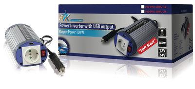 Omvormer 12 - 230 V 150 W schuko en USB