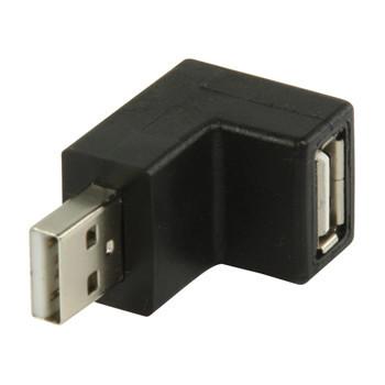 USB 2.0 USB A mannelijk - USB A vrouwelijk 270° gehoekte adapter zwart