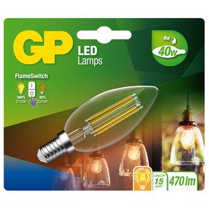 LED lamp E14 4W 470Lm kaars flame switch