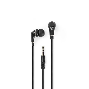 Bedrade Koptelefoon | 1,2 m Platte Kabel | In-Ear | Zwart