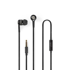 Bedrade Hoofdtelefoon | 1,2 m Ronde Kabel | In-Ear | Ingebouwde Microfoon | Zwart