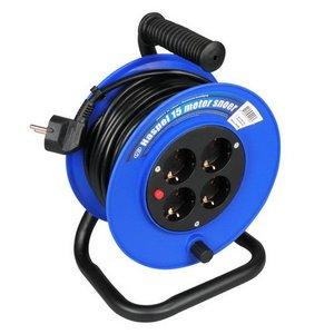 Kabelhaspel 15 meter 4-voudig 3x1mm² randaarde + thermisch beveiligd