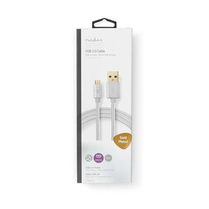 Kabel USB 2.0   A male - Micro-B male   1,0 m   Aluminium